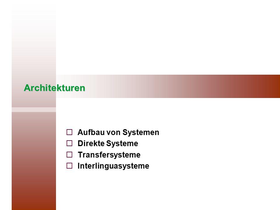 Architekturen   Aufbau von Systemen   Direkte Systeme   Transfersysteme   Interlinguasysteme