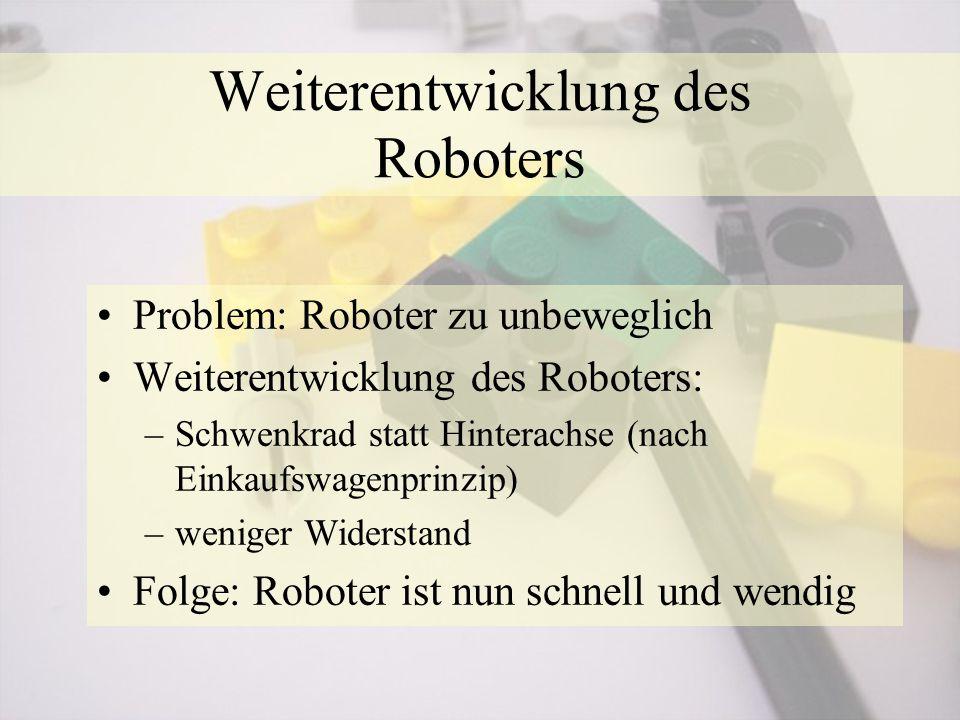 Weiterentwicklung des Roboters Problem: Roboter zu unbeweglich Weiterentwicklung des Roboters: –Schwenkrad statt Hinterachse (nach Einkaufswagenprinzip) –weniger Widerstand Folge: Roboter ist nun schnell und wendig