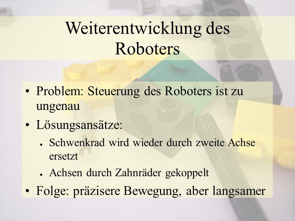 Weiterentwicklung des Roboters Problem: Steuerung des Roboters ist zu ungenau Lösungsansätze: ● Schwenkrad wird wieder durch zweite Achse ersetzt ● Achsen durch Zahnräder gekoppelt Folge: präzisere Bewegung, aber langsamer