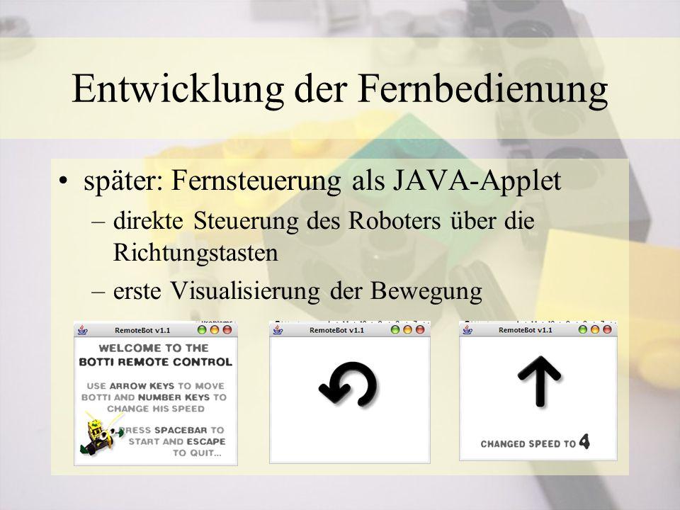 später: Fernsteuerung als JAVA-Applet –direkte Steuerung des Roboters über die Richtungstasten –erste Visualisierung der Bewegung Entwicklung der Fern