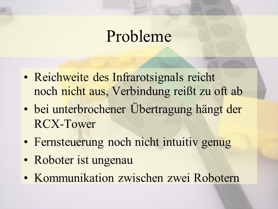 Reichweite des Infrarotsignals reicht noch nicht aus, Verbindung reißt zu oft ab bei unterbrochener Übertragung hängt der RCX-Tower Fernsteuerung noch