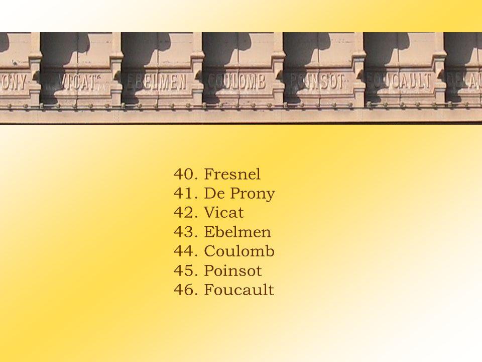 40. Fresnel 41. De Prony 42. Vicat 43. Ebelmen 44. Coulomb 45. Poinsot 46. Foucault