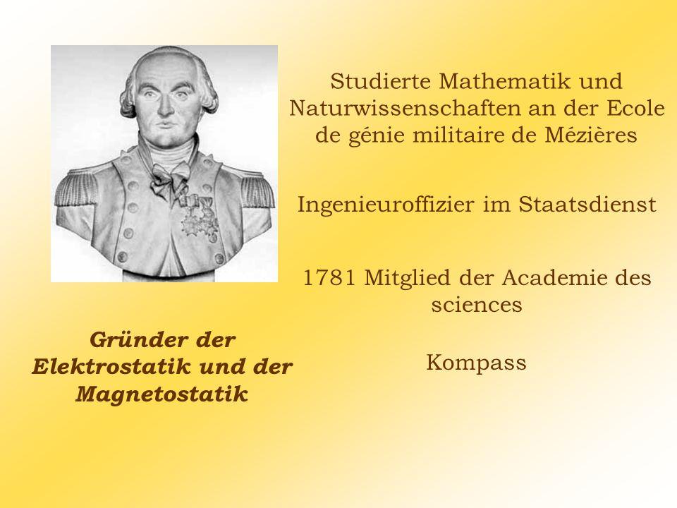 Studierte Mathematik und Naturwissenschaften an der Ecole de génie militaire de Mézières Gründer der Elektrostatik und der Magnetostatik 1781 Mitglied