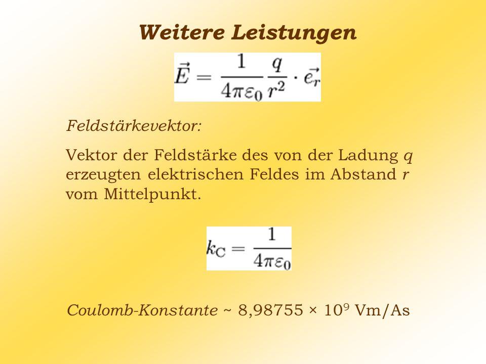 Weitere Leistungen Feldstärkevektor: Vektor der Feldstärke des von der Ladung q erzeugten elektrischen Feldes im Abstand r vom Mittelpunkt. Coulomb-Ko