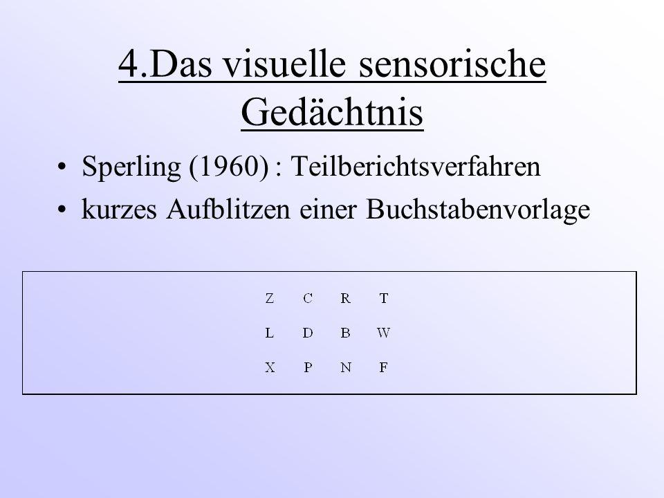 4.Das visuelle sensorische Gedächtnis Sperling (1960) : Teilberichtsverfahren kurzes Aufblitzen einer Buchstabenvorlage