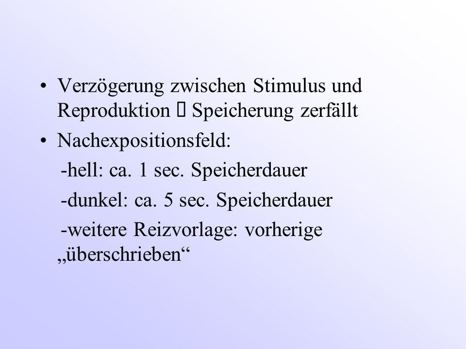 Verzögerung zwischen Stimulus und Reproduktion  Speicherung zerfällt Nachexpositionsfeld: -hell: ca. 1 sec. Speicherdauer -dunkel: ca. 5 sec. Speiche