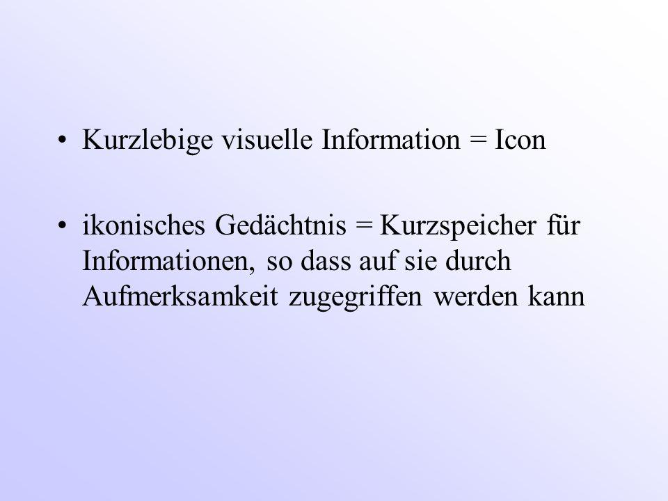 Kurzlebige visuelle Information = Icon ikonisches Gedächtnis = Kurzspeicher für Informationen, so dass auf sie durch Aufmerksamkeit zugegriffen werden