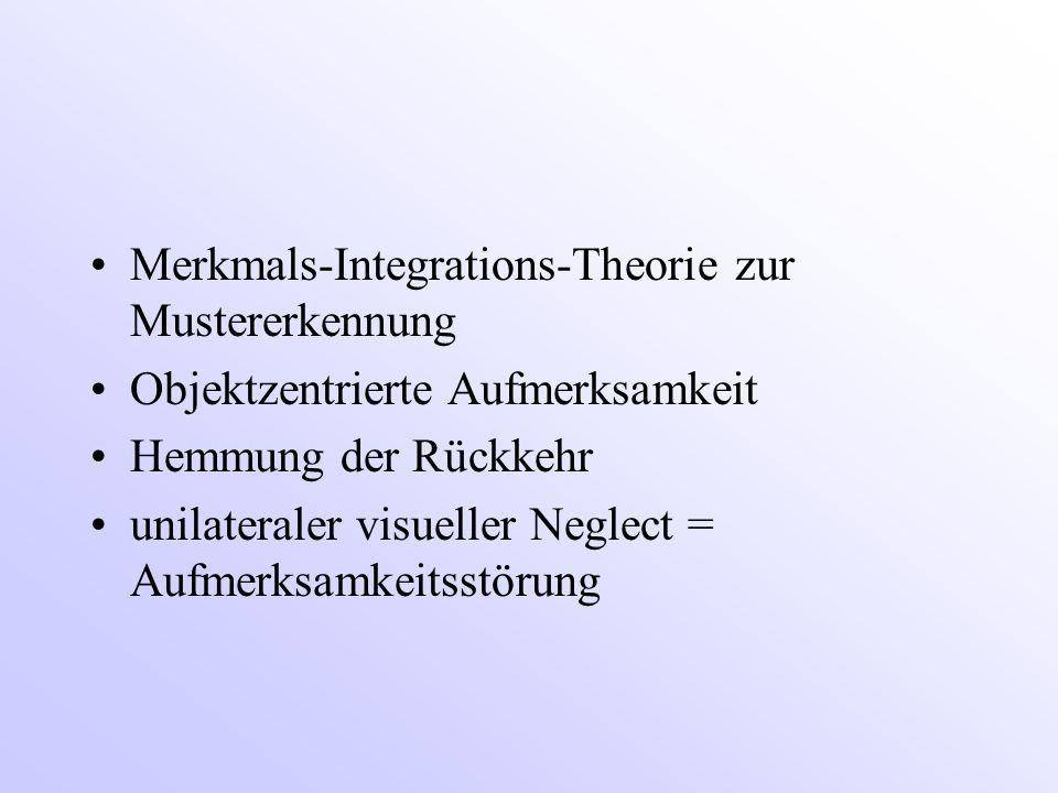Merkmals-Integrations-Theorie zur Mustererkennung Objektzentrierte Aufmerksamkeit Hemmung der Rückkehr unilateraler visueller Neglect = Aufmerksamkeitsstörung