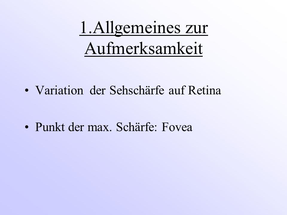 1.Allgemeines zur Aufmerksamkeit Variation der Sehschärfe auf Retina Punkt der max. Schärfe: Fovea