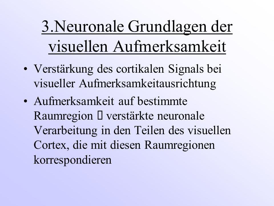3.Neuronale Grundlagen der visuellen Aufmerksamkeit Verstärkung des cortikalen Signals bei visueller Aufmerksamkeitausrichtung Aufmerksamkeit auf bestimmte Raumregion  verstärkte neuronale Verarbeitung in den Teilen des visuellen Cortex, die mit diesen Raumregionen korrespondieren