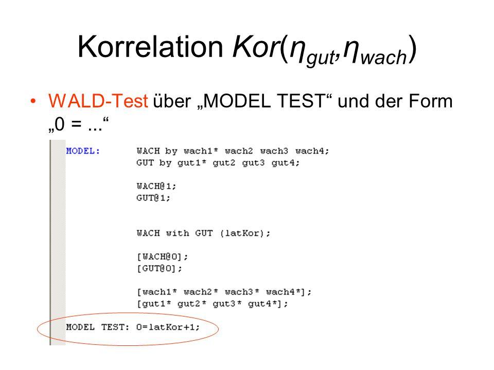 """Korrelation Kor(η gut,η wach ) WALD-Test über """"MODEL TEST und der Form """"0 =..."""