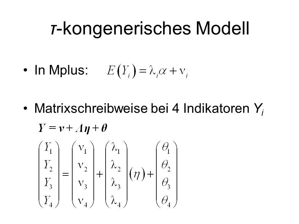 τ-kongenerisches Modell In Mplus: Matrixschreibweise bei 4 Indikatoren Y i