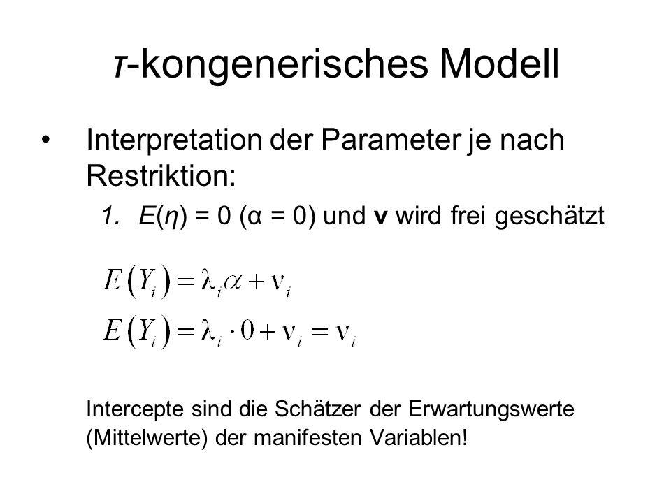 Interpretation der Parameter je nach Restriktion: 1.E(η) = 0 (α = 0) und ν wird frei geschätzt Intercepte sind die Schätzer der Erwartungswerte (Mittelwerte) der manifesten Variablen!