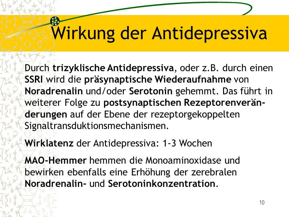 10 Wirkung der Antidepressiva Durch trizyklische Antidepressiva, oder z.B. durch einen SSRI wird die präsynaptische Wiederaufnahme von Noradrenalin un