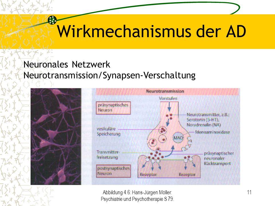 Abbildung 4.6: Hans-Jürgen Möller: Psychiatrie und Psychotherapie S 79. 11 Wirkmechanismus der AD Neuronales Netzwerk Neurotransmission/Synapsen-Versc