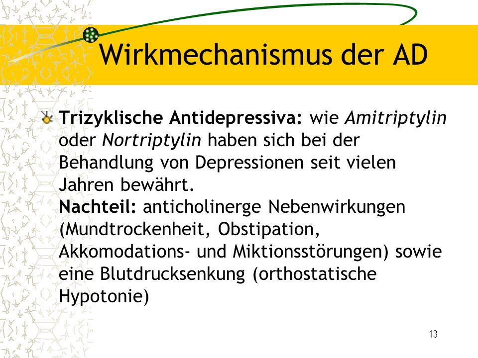 13 Wirkmechanismus der AD Trizyklische Antidepressiva: wie Amitriptylin oder Nortriptylin haben sich bei der Behandlung von Depressionen seit vielen J