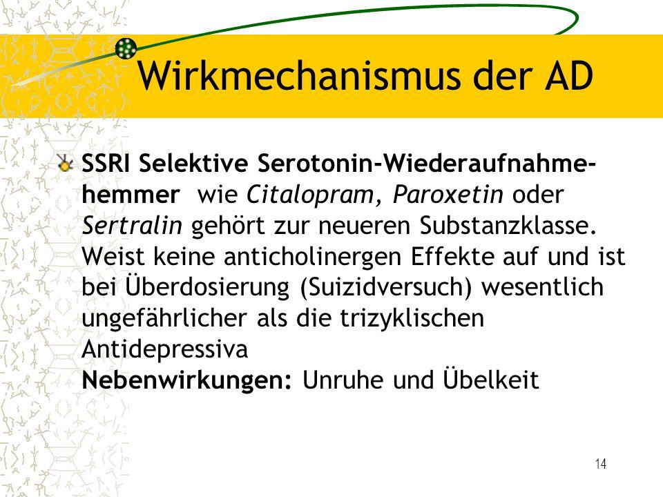 14 Wirkmechanismus der AD SSRI Selektive Serotonin-Wiederaufnahme- hemmer wie Citalopram, Paroxetin oder Sertralin gehört zur neueren Substanzklasse.
