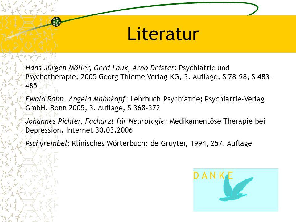 18 Literatur Hans-Jürgen Möller, Gerd Laux, Arno Deister: Psychiatrie und Psychotherapie; 2005 Georg Thieme Verlag KG, 3. Auflage, S 78-98, S 483- 485