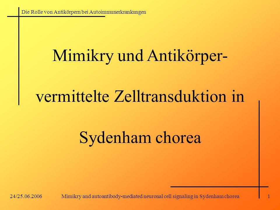 Die Rolle von Antikörpern bei Autoimmunerkrankungen 24/25.06.2006Mimikry and autoantibody-mediated neuronal cell signaling in Sydenham chorea1 Mimikry