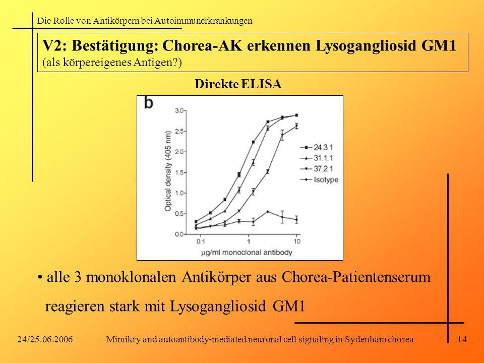 Die Rolle von Antikörpern bei Autoimmunerkrankungen 24/25.06.2006Mimikry and autoantibody-mediated neuronal cell signaling in Sydenham chorea14 V2: Bestätigung: Chorea-AK erkennen Lysogangliosid GM1 (als körpereigenes Antigen?) alle 3 monoklonalen Antikörper aus Chorea-Patientenserum reagieren stark mit Lysogangliosid GM1 Direkte ELISA