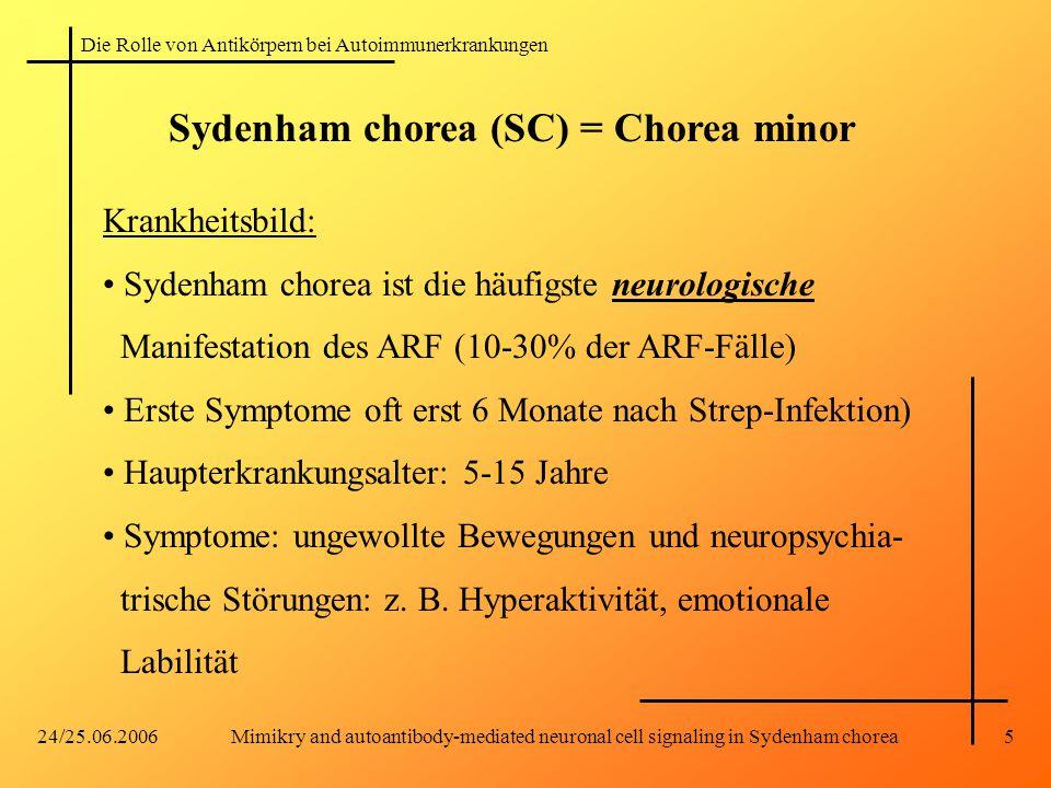 Die Rolle von Antikörpern bei Autoimmunerkrankungen 24/25.06.2006Mimikry and autoantibody-mediated neuronal cell signaling in Sydenham chorea5 Sydenham chorea (SC) = Chorea minor Krankheitsbild: Sydenham chorea ist die häufigste neurologische Manifestation des ARF (10-30% der ARF-Fälle) Erste Symptome oft erst 6 Monate nach Strep-Infektion) Haupterkrankungsalter: 5-15 Jahre Symptome: ungewollte Bewegungen und neuropsychia- trische Störungen: z.