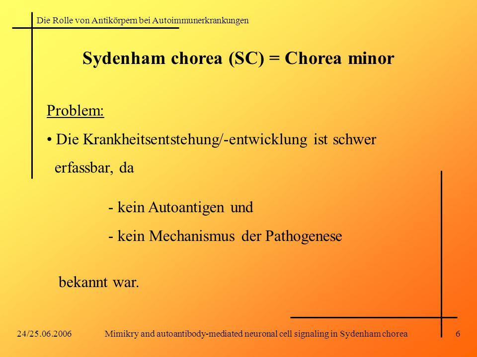 Die Rolle von Antikörpern bei Autoimmunerkrankungen 24/25.06.2006Mimikry and autoantibody-mediated neuronal cell signaling in Sydenham chorea6 Problem: Die Krankheitsentstehung/-entwicklung ist schwer erfassbar, da bekannt war.