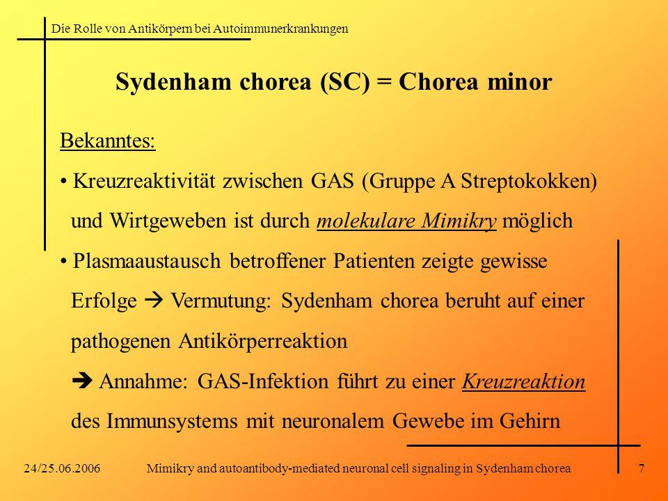 Die Rolle von Antikörpern bei Autoimmunerkrankungen 24/25.06.2006Mimikry and autoantibody-mediated neuronal cell signaling in Sydenham chorea7 Bekannt