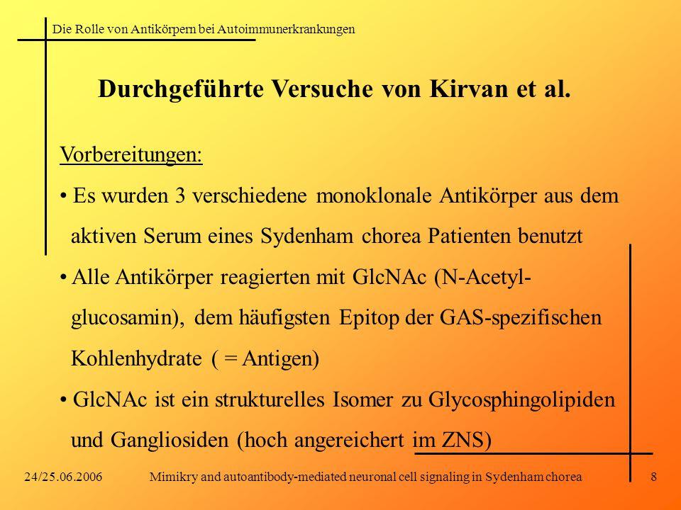 Die Rolle von Antikörpern bei Autoimmunerkrankungen 24/25.06.2006Mimikry and autoantibody-mediated neuronal cell signaling in Sydenham chorea8 Durchgeführte Versuche von Kirvan et al.