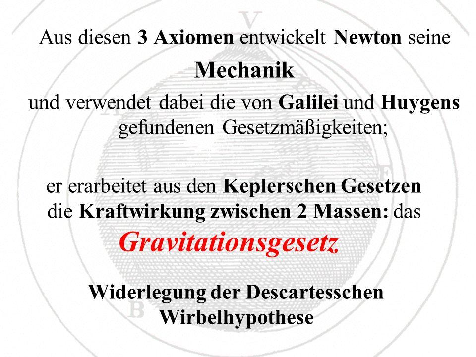 Aus diesen 3 Axiomen entwickelt Newton seine Mechanik und verwendet dabei die von Galilei und Huygens gefundenen Gesetzmäßigkeiten; Widerlegung der De