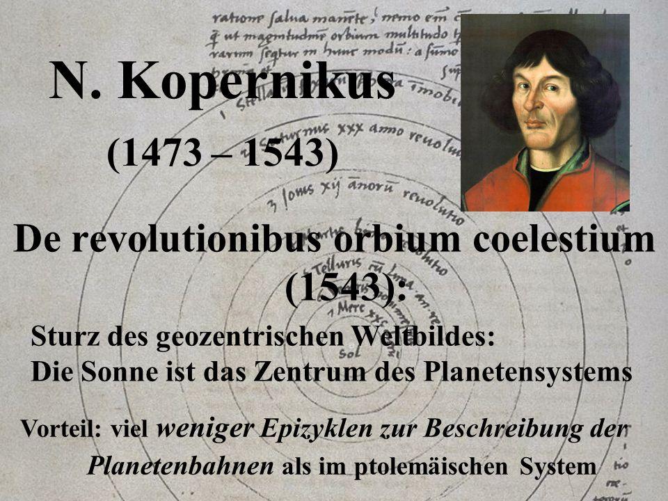 N. Kopernikus (1473 – 1543) De revolutionibus orbium coelestium (1543): Sturz des geozentrischen Weltbildes: Die Sonne ist das Zentrum des Planetensys