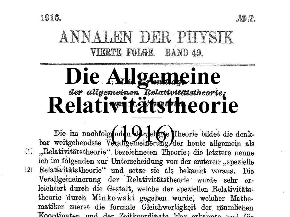 Die Allgemeine Relativitätstheorie (1916)