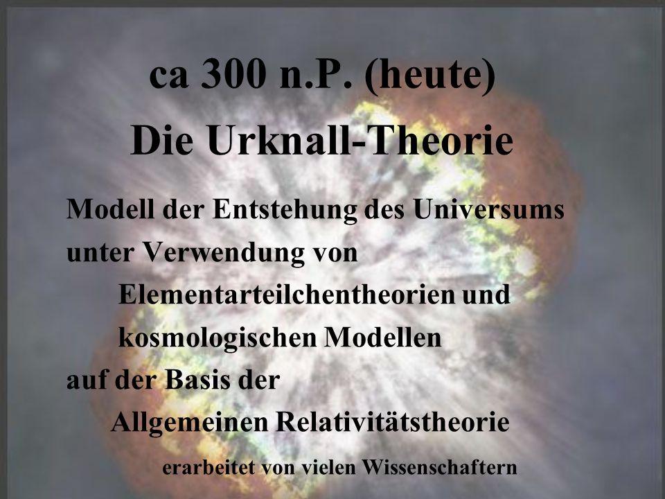 ca 300 n.P. (heute) Modell der Entstehung des Universums unter Verwendung von Elementarteilchentheorien und kosmologischen Modellen auf der Basis der