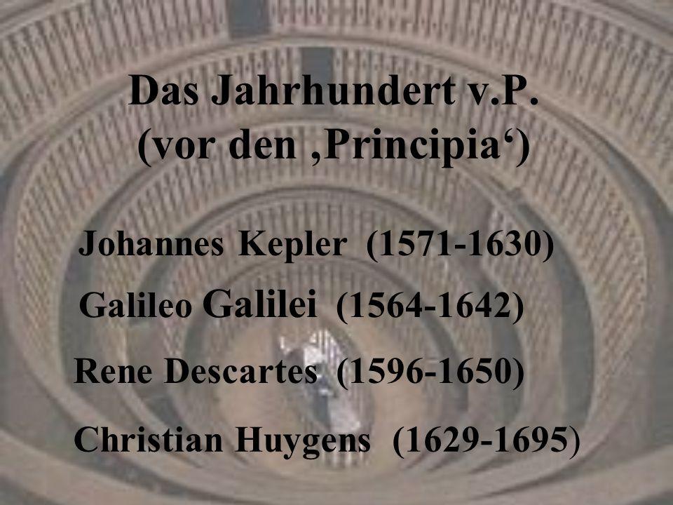 Das Jahrhundert v.P. (vor den 'Principia') Rene Descartes (1596-1650) Galileo Galilei (1564-1642) Christian Huygens (1629-1695) Johannes Kepler (1571-
