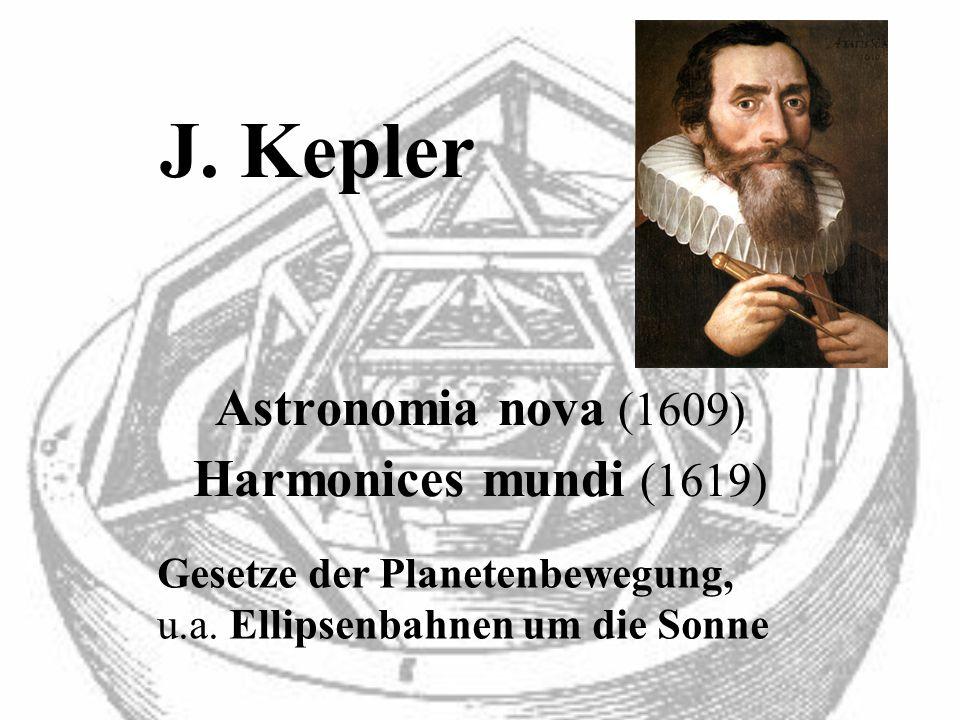 J. Kepler Astronomia nova (1609) Harmonices mundi (1619) Gesetze der Planetenbewegung, u.a. Ellipsenbahnen um die Sonne