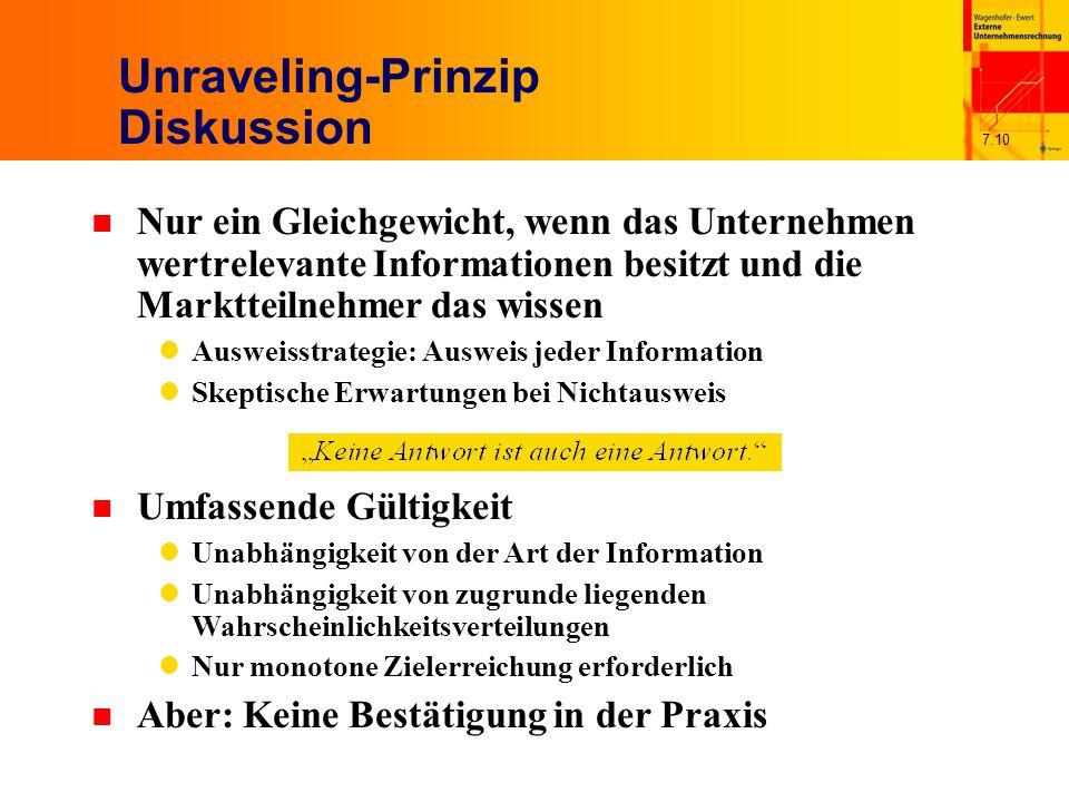 7.10 Unraveling-Prinzip Diskussion n Nur ein Gleichgewicht, wenn das Unternehmen wertrelevante Informationen besitzt und die Marktteilnehmer das wisse