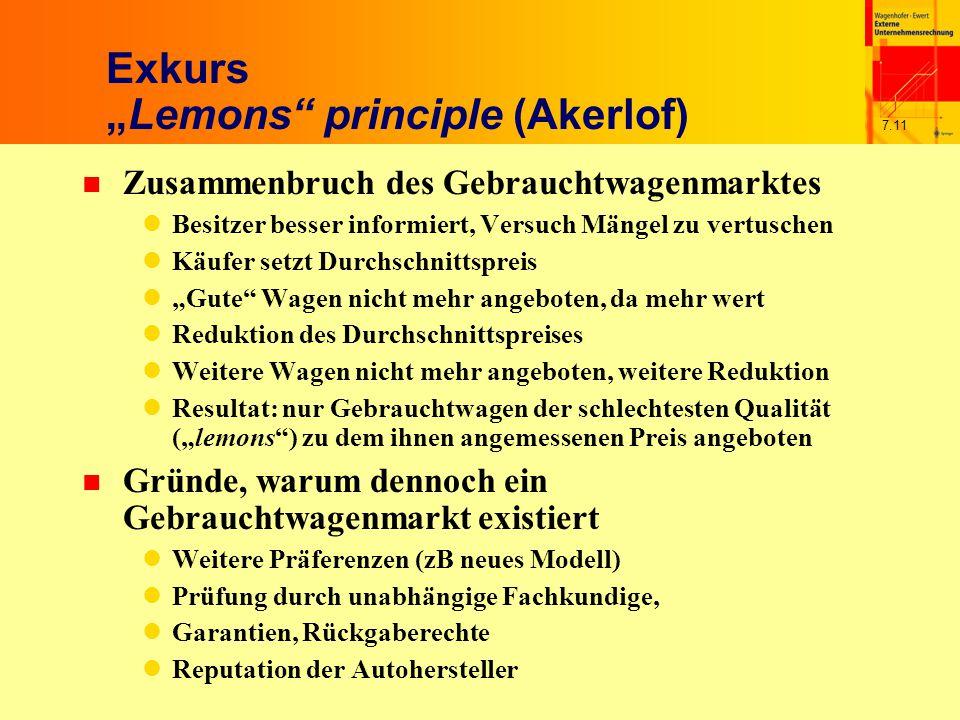 """7.11 Exkurs """"Lemons"""" principle (Akerlof) n Zusammenbruch des Gebrauchtwagenmarktes Besitzer besser informiert, Versuch Mängel zu vertuschen Käufer set"""