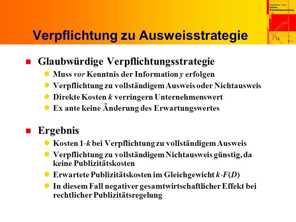7.14 Verpflichtung zu Ausweisstrategie n Glaubwürdige Verpflichtungsstrategie Muss vor Kenntnis der Information y erfolgen Verpflichtung zu vollständi