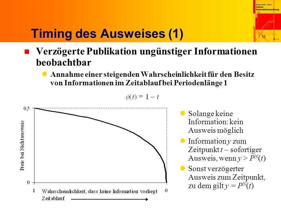 7.18 Timing des Ausweises (1) n Verzögerte Publikation ungünstiger Informationen beobachtbar Annahme einer steigenden Wahrscheinlichkeit für den Besitz von Informationen im Zeitablauf bei Periodenlänge 1 Solange keine Information: kein Ausweis möglich Information y zum Zeitpunkt t – sofortiger Ausweis, wenn y > P N (t) Sonst verzögerter Ausweis zum Zeitpunkt, zu dem gilt y = P N (t)