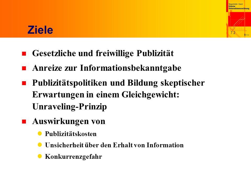 7.2 Ziele n Gesetzliche und freiwillige Publizität n Anreize zur Informationsbekanntgabe n Publizitätspolitiken und Bildung skeptischer Erwartungen in