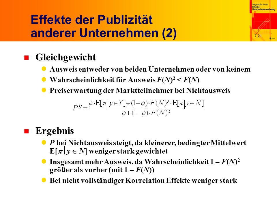 7.21 Effekte der Publizität anderer Unternehmen (2) n Gleichgewicht Ausweis entweder von beiden Unternehmen oder von keinem Wahrscheinlichkeit für Aus