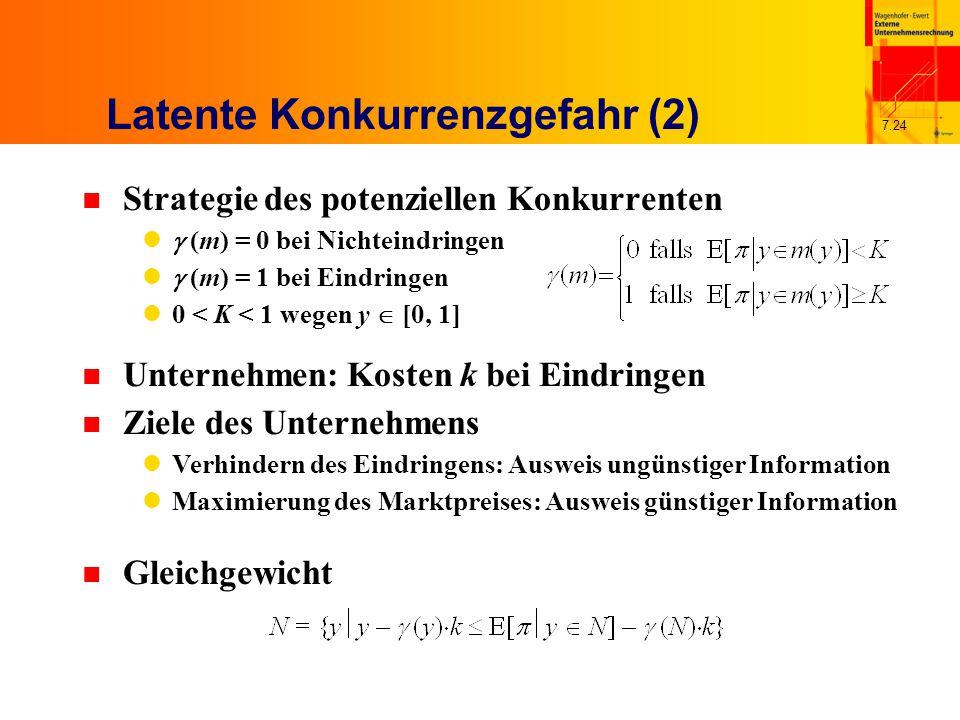 7.24 Latente Konkurrenzgefahr (2) n Strategie des potenziellen Konkurrenten  (m) = 0 bei Nichteindringen  (m) = 1 bei Eindringen 0 < K < 1 wegen y