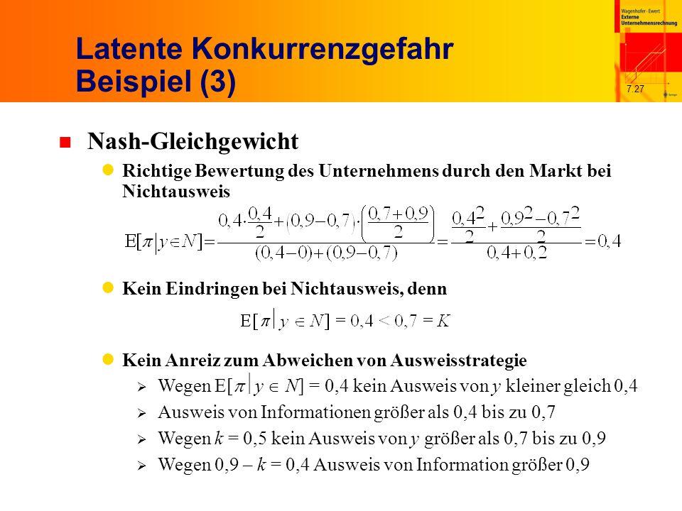 7.27 Latente Konkurrenzgefahr Beispiel (3) n Nash-Gleichgewicht Richtige Bewertung des Unternehmens durch den Markt bei Nichtausweis Kein Eindringen bei Nichtausweis, denn Kein Anreiz zum Abweichen von Ausweisstrategie  Wegen E[  y  N] = 0,4 kein Ausweis von y kleiner gleich 0,4  Ausweis von Informationen größer als 0,4 bis zu 0,7  Wegen k = 0,5 kein Ausweis von y größer als 0,7 bis zu 0,9  Wegen 0,9 – k = 0,4 Ausweis von Information größer 0,9