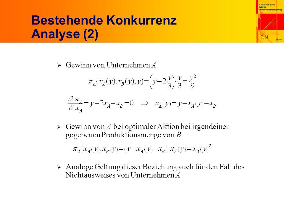 7.34 Bestehende Konkurrenz Analyse (2)  Gewinn von Unternehmen A  Gewinn von A bei optimaler Aktion bei irgendeiner gegebenen Produktionsmenge von B  Analoge Geltung dieser Beziehung auch für den Fall des Nichtausweises von Unternehmen A