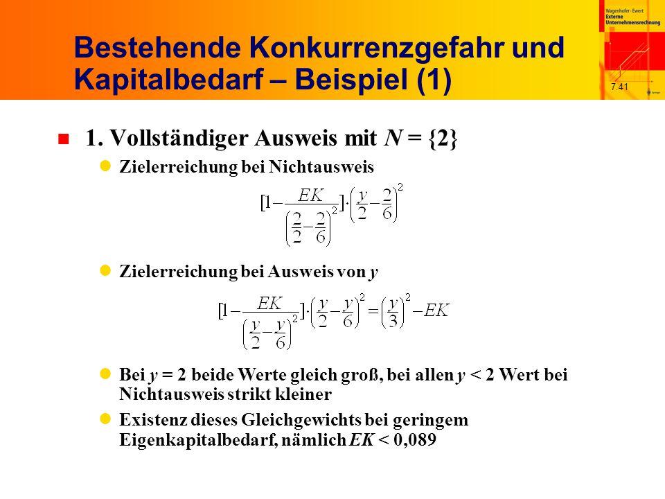 7.41 Bestehende Konkurrenzgefahr und Kapitalbedarf – Beispiel (1) n 1. Vollständiger Ausweis mit N = {2} Zielerreichung bei Nichtausweis Zielerreichun