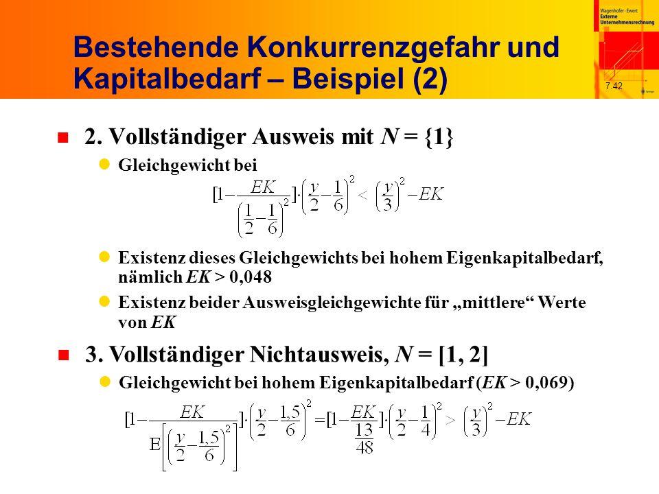 7.42 Bestehende Konkurrenzgefahr und Kapitalbedarf – Beispiel (2) n 2. Vollständiger Ausweis mit N = {1} Gleichgewicht bei Existenz dieses Gleichgewic