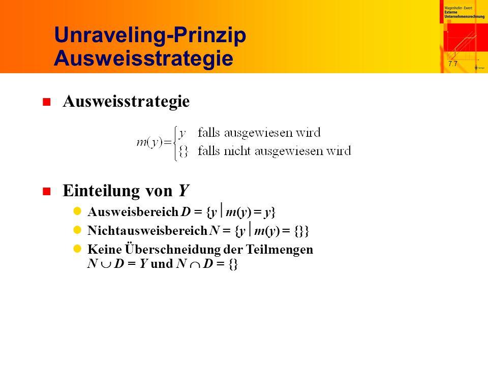 7.7 Unraveling-Prinzip Ausweisstrategie n Ausweisstrategie n Einteilung von Y Ausweisbereich D = {y  m(y) = y} Nichtausweisbereich N = {y  m(y) = {}} Keine Überschneidung der Teilmengen N  D = Y und N  D = {}