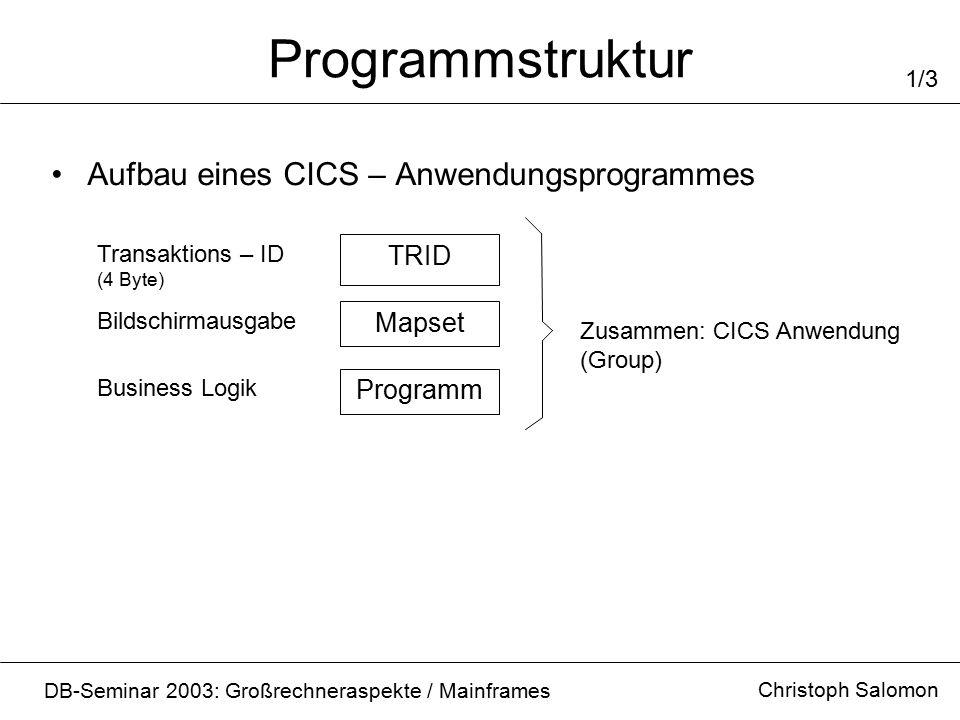 Programmstruktur Christoph Salomon DB-Seminar 2003: Großrechneraspekte / Mainframes 1/3 Aufbau eines CICS – Anwendungsprogrammes Programm Mapset TRID