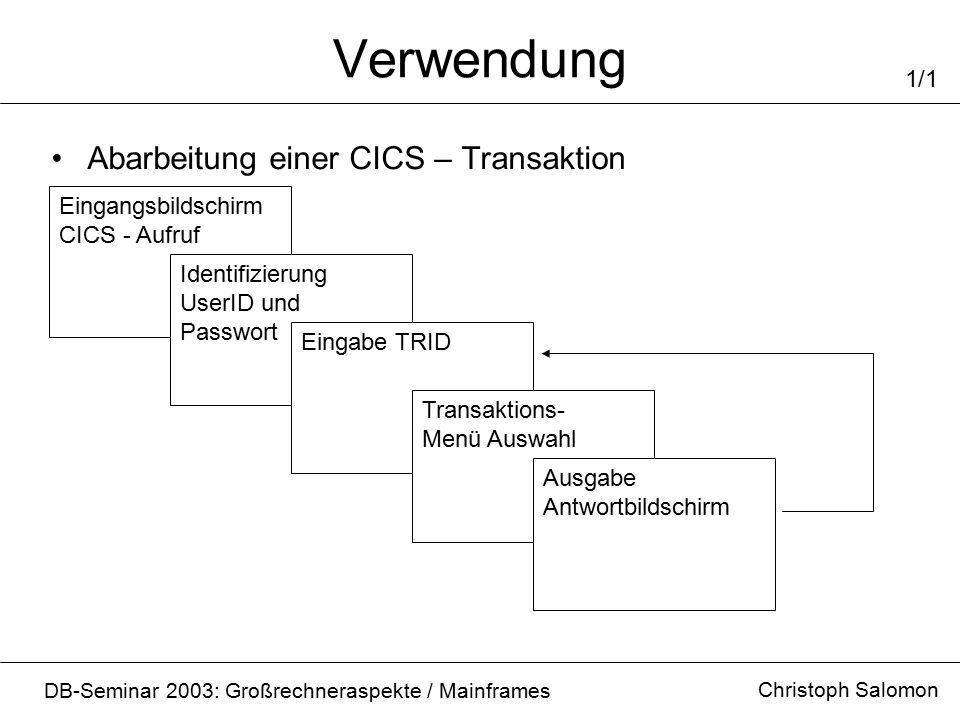 Verwendung Christoph Salomon DB-Seminar 2003: Großrechneraspekte / Mainframes 1/1 Abarbeitung einer CICS – Transaktion Eingangsbildschirm CICS - Aufru