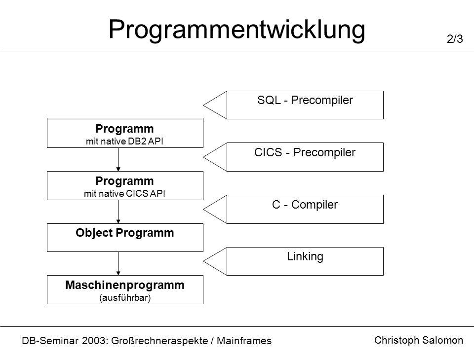 Programmentwicklung Christoph Salomon DB-Seminar 2003: Großrechneraspekte / Mainframes 2/3 Programm mit native CICS API Object Programm Maschinenprogramm (ausführbar) CICS - Precompiler C - Compiler Linking Quellprogramm Programm mit native DB2 API SQL - Precompiler