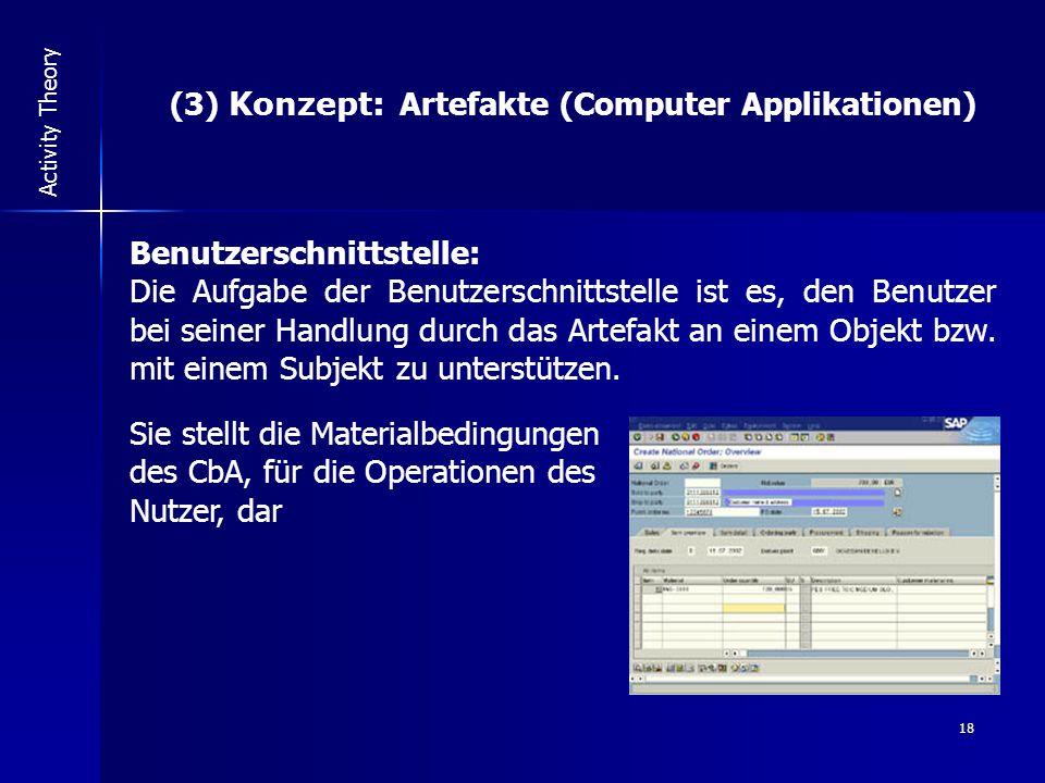 18 Activity Theory (3) Konzept: Artefakte (Computer Applikationen) Benutzerschnittstelle: Die Aufgabe der Benutzerschnittstelle ist es, den Benutzer bei seiner Handlung durch das Artefakt an einem Objekt bzw.